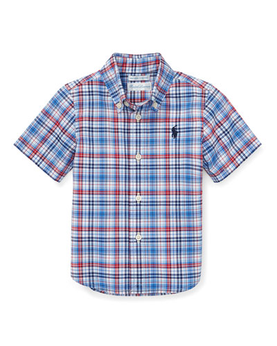 Short-Sleeve Collared Plaid Shirt, Size 12-24 Months
