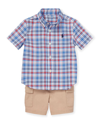Short-Sleeve Plaid Shirt w/ Cargo Shorts & Belt, Size 6-24 Months