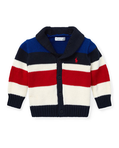 Stripe Knit Shawl Cardigan, Size 6-24 Months