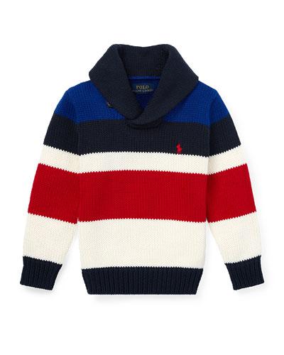 Stripe Knit Shawl Collar Sweater, Size 2-4