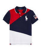 Ralph Lauren Childrenswear Diagonal Colorblock Polo Shirt, Size
