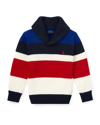 Stripe Knit Shawl Collar Sweater, Size 5-7