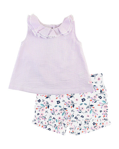 Stripe Seersucker Ruffle Collar Tank Top w/ Berry Sweet Printed Shorts, ...