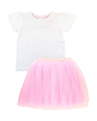 Scallop Tee w/ Tulle Skirt, Size 3M-3T