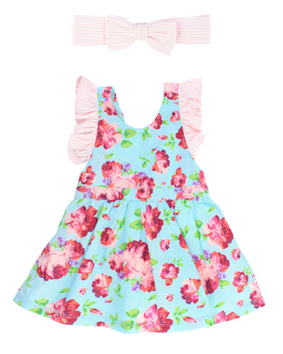 Life Is Rosy Pinafore Dress w/ Seersucker Bow Headband, Size 0M-3T