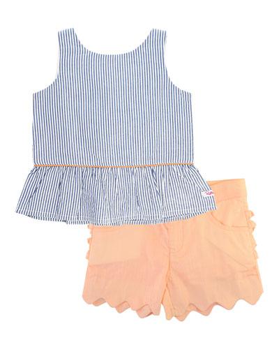 Seersucker Peplum Top w/ Scallop Shorts, Size 12M-3T