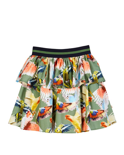 Brianna Tiered Woven Budgies Print Skirt, Size 3T-12