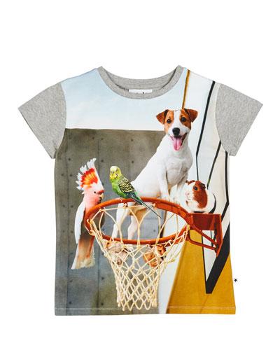 Ranva Animals on Basketball Hoop Graphic Tee, Size 3-10