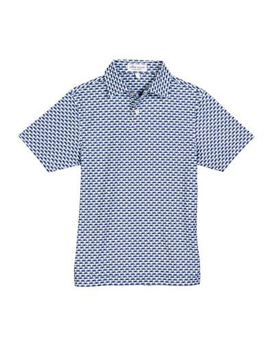 Stretch Jersey Motorcycle-Print Polo Shirt, Size XS-XL