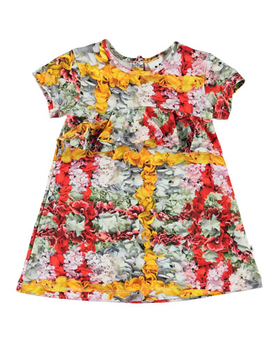 Cloud Short-Sleeve Floral Print Dress, Size 6-24 Months