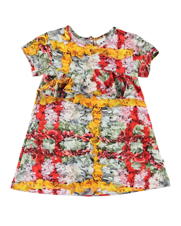 Molo CLOUD SHORT-SLEEVE FLORAL PRINT DRESS