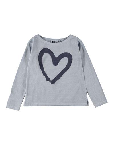 Ramilah Heart Graphic Long-Sleeve Tee, Size 4-16