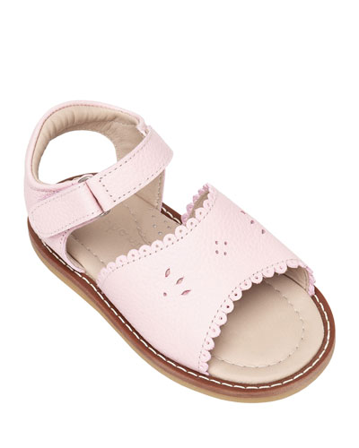 Girls' Classic Leather Scalloped Sandal, Toddler/Kids