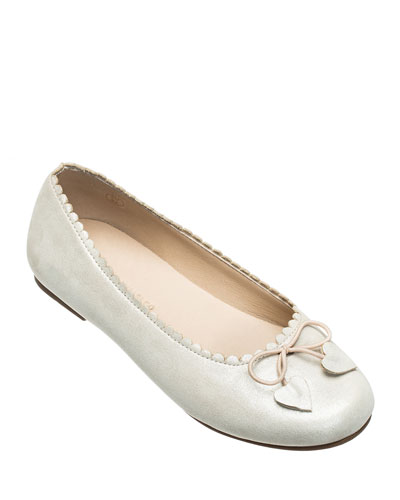 Scalloped Leather Ballet Flats, Toddler/Kids