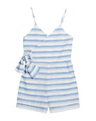 Habitual Perla Stripe Wrap Sleeveless Romper, Size 4-6X