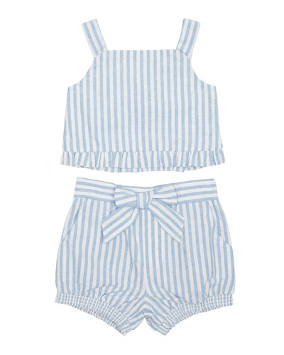 Luciana Stripe Sleeveless Top w/ Matching Shorts, Size 2-4T
