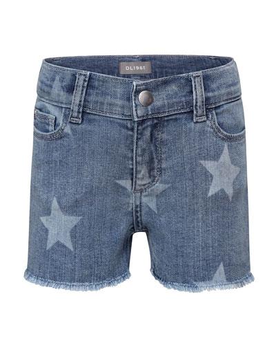 Girls' Lucy Lucy Star-Print Denim Shorts, Size 2-6
