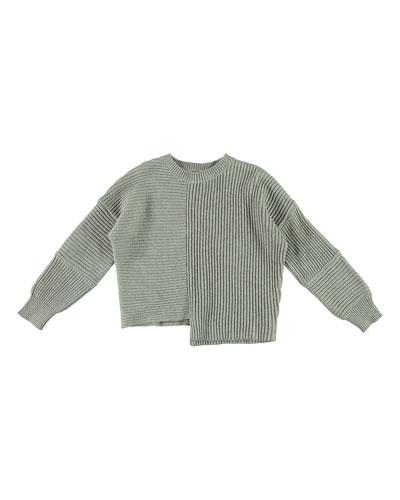 Asymmetrical Knit Notch Hem Sweater, Size 4-14