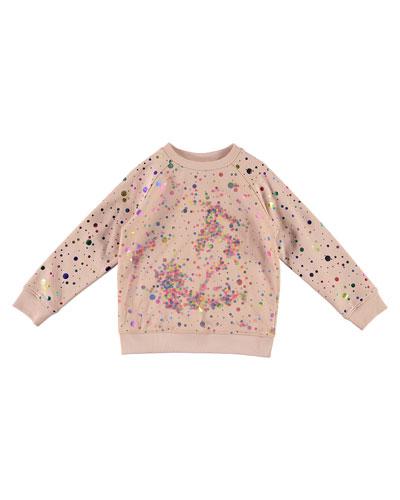 Girl's Sequin Tulle Layer Sweatshirt, Size 4-14