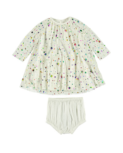 Foil Dot Long-Sleeve Dress w/ Bloomers, Size 6-36 Months
