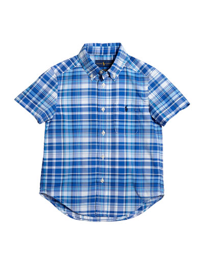 Short-Sleeve Collared Plaid Shirt, Size 2-4