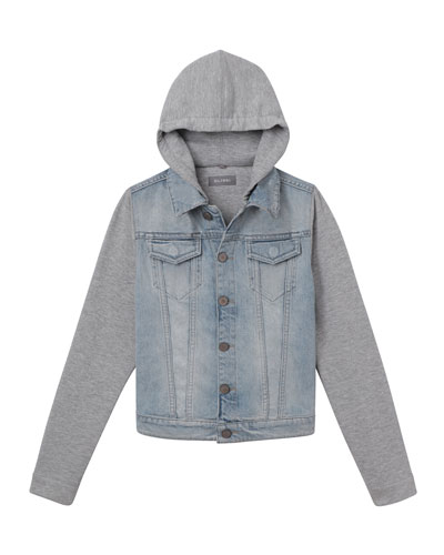 Boys' Manning Denim Jacket w/ Jersey Hood & Sleeves, Size 3-6X