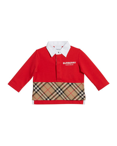 8026aeeef Quick Look. Burberry · Mini Quentin Check-Panel Rugby Polo Shirt ...