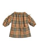 Burberry Alenka Archive Check Long-Sleeve Dress, Size 6M-2