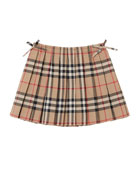 Burberry Mini Pearly Archive Check Pleated Skirt, Size