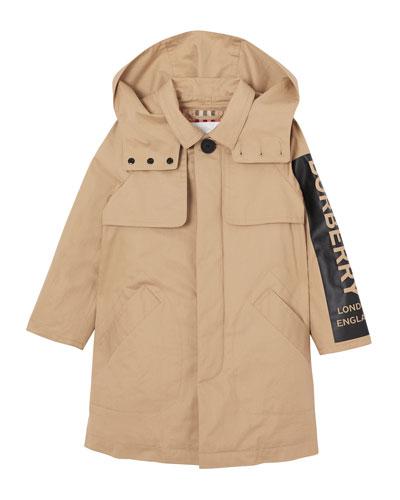 Daxton Logo Sleeve Trench Coat, Size 3-14