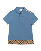 Burberry Hammond Short-Sleeve Check-Trim Polo Shirt, Size 3-14