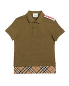 Burberry Hammond Short-Sleeve Check-Trim Polo Shirt, Size 3-14