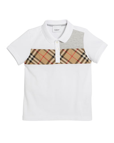 Jeff Contrasting Polo w/ Check Chest, Size 3-14