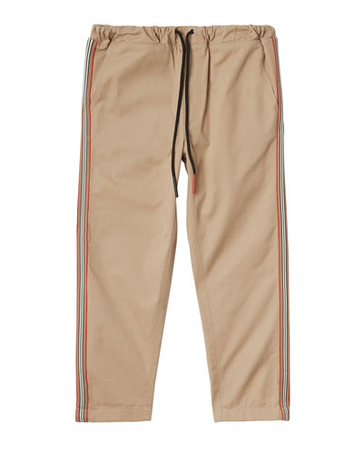 Curran Drawstring Chino Pants w/ Icon Stripe Sides, Size 3-14