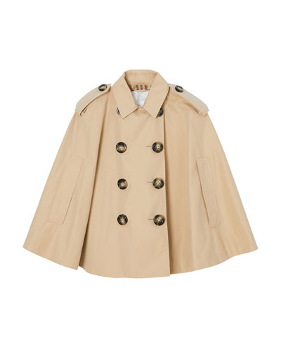Leanne Trench Coat-Style Cape, Size M-L