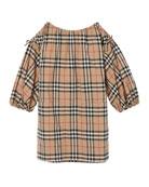 Burberry Alenka Archive Check Long-Sleeve Dress, Size 3-14