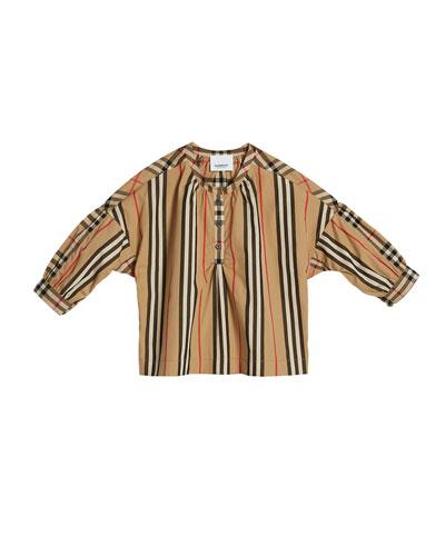 Lola Icon Stripe Check-Trim Blouse, Size 3-14