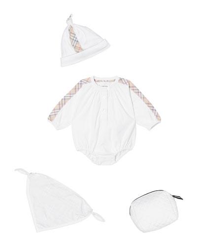 Berta Check-Trim 3-Piece Layette Set, Size 1-9 Months