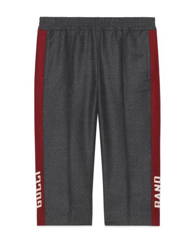 Wool Flannel Pants w/ Side Stripes, Size 4-12