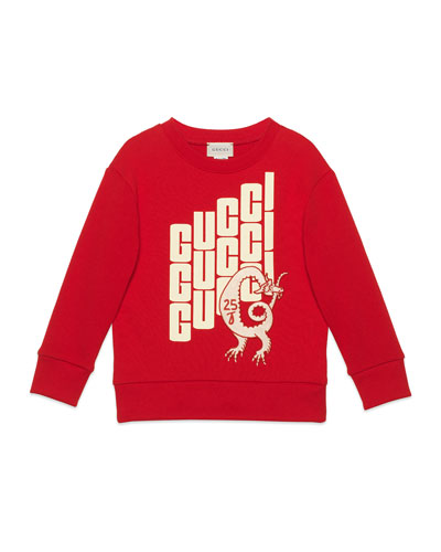 Repeat Logo-Print Sweatshirt, Size 4-12