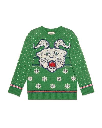 Wool Face Intarsia Sweater, Size 4-12