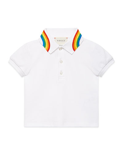Short-Sleeve Polo Shirt w/ Rainbow Embroidered Collar, Size 12-36 Months