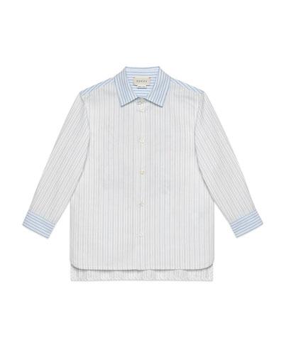 Multi Oxford Stripe Button-Down Shirt w/ Maison de L'Amour Crest, Size 4-12