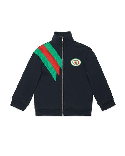 Zip-Up Sweatshirt w/ Contrast Striping, Size 4-12
