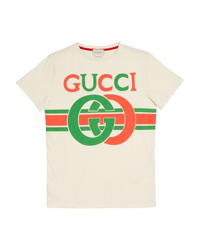 Kids' GG Logo Tee, Size 4-10