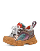 Gucci FlashTrek Metallic Leather Sneakers, Baby/Toddler