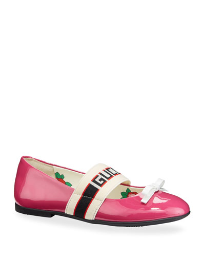 Patent Leather Gucci Band Ballet Flats, Kids