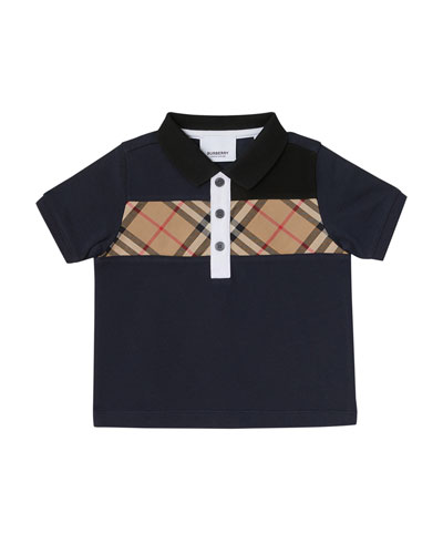 Jeff Contrasting Polo w/ Check Chest, Size 6M-2