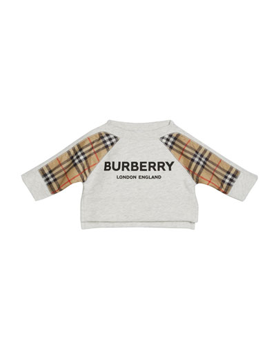 Mini Esther Check-Trim Sweatshirt, Size 6M-2