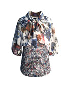 Helena Floral Chiffon & Tweed Mock Outfit Dress,
